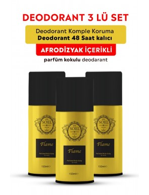 Flame Erkek  Deodorant 3 ADET 3X150 ml Afrodizyak İçerikli