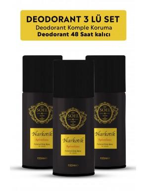 Narkotik Erkek  Deodorant 3 ADET  3X150 ml Afrodizyak İçerikli