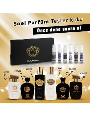 Bay Tester Parfümlerimiz 5'li kutu  Narkotik, Ottoman, Majestic, Star Lux, Mega Lux